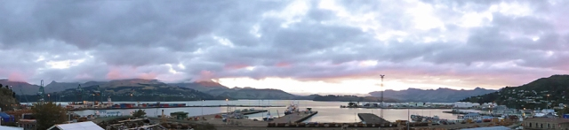 The glorious view of Lyttelton Port from the Wunderbar